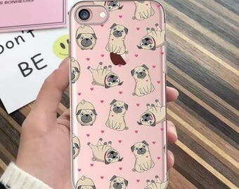 Clear iPhone 8 case with pugs iPhone 7 plus case animals iPhone case clear iPhone 6 case dogs iphone 6s clear iphone 6 plus iphone se 5s 4