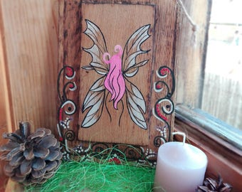 Fairy Painting on Wood Fairy Art Decor Wood Wall Art Home Decor Log Cabin Art Reclaimed Wood Painted Wood Fairy Sign Birthday Gift Acrylic
