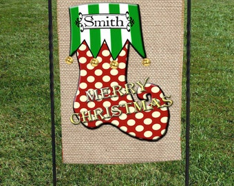 """Personalized Christmas Garden Flag, Green White Strip, Red with White Polka Dots, Faux Burlap, Christmas Yard Art, 12""""x18"""""""