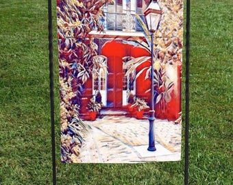 """French Quarter Courtyard Garden Flag, New Orleans, Lamppost, Red Green Yellow, heat set, hand sewn, 12""""x18"""""""