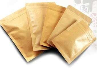 100pcs  3 sizes kraft paper bag food packaging bags ,ziplock coffee sample package bags          10x15cm \110x185mm \130x185mm