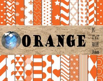 Digital Papers - Orange Patterns