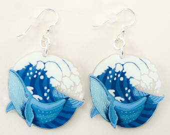 Whale jewelry, whale gift, whale earrings, cute earrings, animal jewelry, whale, blue whale, quirky jewelry, quirky gift, quirky earrings