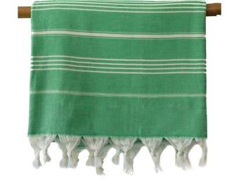 Free Shipping JUNE Green One Side Terry Turkish Towel Peshtemal