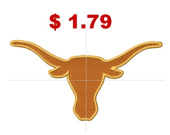 Texas longhorns embroidery design, machine embroidery designs, instant download, 7 sizes