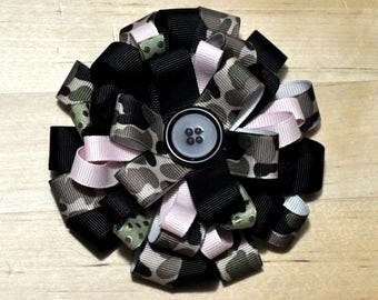 """4"""" Pink, Black & Camouflage Round Bow"""