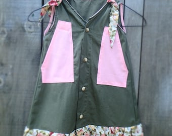 Hand made Upcycled Girl's Dress From Men's Shirt.  Age 3.