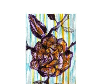 Rose. Art Deco style. Aceo card. Illistration.
