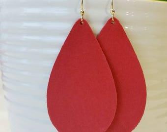 Red Leather Earrings/ Teardrop