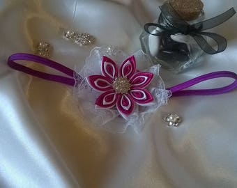 Satin ribbon Fuchsia and white kanzashi flower headband with Center rhinestone cabochon