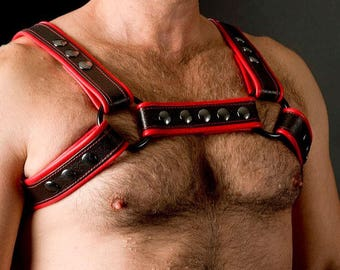 Leather Harness Red and Black