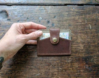 50% off Sale! Brown Leather Wallet with Stamped Leather