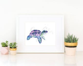 Watercolor Sea Turtle Print 1