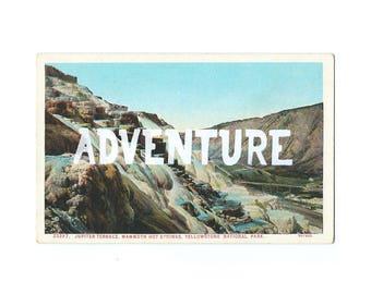 Screenprinted vintage postcard - Adventure
