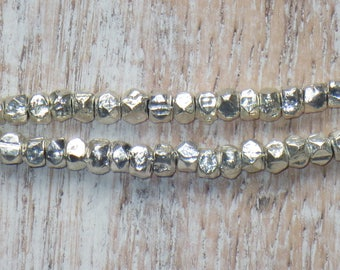Silver Plated Nugget Bead Strand, Nugget Beads, Silver Nugget Beads, Faceted Silver Beads