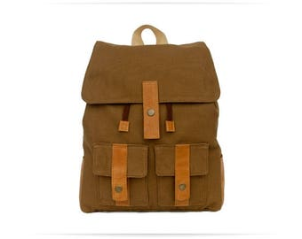 Backpack ocher textile (free shipping)