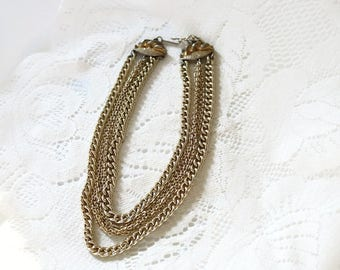 Vintage Signed Coro multistrand chain necklace 1940's - 1950's