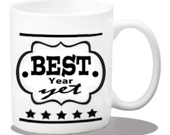 ceramic coffee mugs, work items, coffee mugs, inspirational gifts, coffee cups, office gift ideas, work gifts, desk decor, best year yet mug