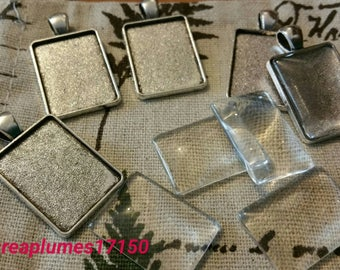 Set of 5 kits rectangle cabochon 25x18x5mm support