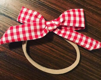 Red Gingham Classic Bow