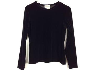 Black long sleeve velvet top size M/L