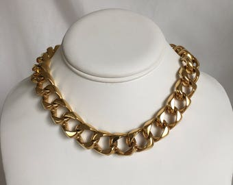Ciner Luxurious Curb Chain Choker Necklace, Gold Tone, Thick, Heavy, Vintage, 1980s