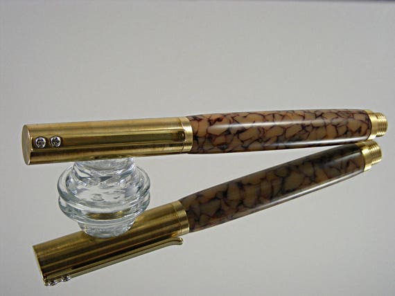 Handcrafted Rollerball Pen, Durable Industrial Style with Gold Web Acrylic