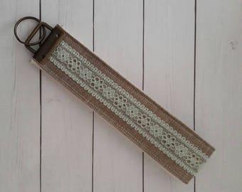 Mint lace wristlet keychain