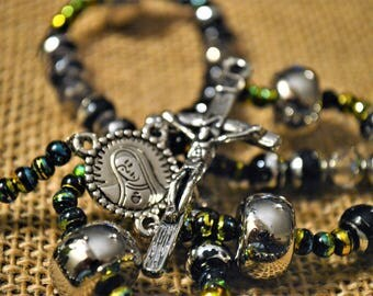 Black & Metallic Rosary...Free Shipping!