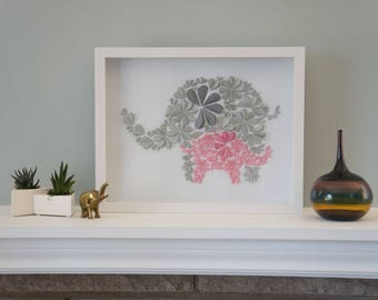 Elephant Love in Pink - Unique Framed Paper Art for Home Decor.  Perfect Baby Shower Gift for Children's Bedroom. By DinoCat Studio