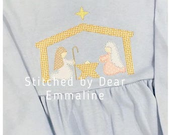 Christmas nativity manger blanket stitch, vintage style applique embroidery design