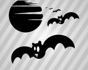 Halloween - Bats Silhouette - Dxf, Svg, Eps, Rld, Rdworks, Pdf, Png And Ai Print Files, Digital Cut, Vector File, Svg File