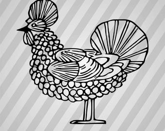 Chicken Silhouette - Svg Dxf Eps Silhouette Rld Rdworks Pdf Png Ai Files Digital Cut Vector File Svg File Cricut Laser Cut