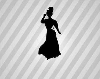 victorian lady Silhouette - Svg Dxf Eps Silhouette Rld RDWorks Pdf Png AI Files Digital Cut Vector File Svg File Cricut Laser Cut
