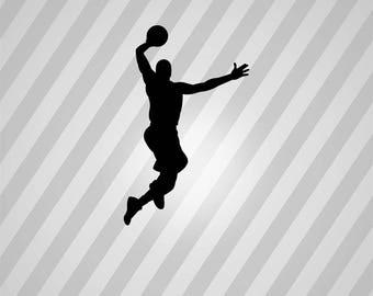 Basketball Dunk Silhouette Basketball Player - Svg Dxf Eps Silhouette Pdf Png AI Files Digital Cut Vector File Svg File Cricut Laser Cut
