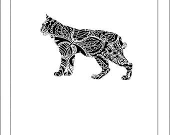 Bobcat Silhouette - Papercut Template Paper Cut Silhouette Pdf Line Art Cut Files