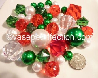 40 Unique Floating Christmas Green Pearls, White Pearls in Jumbo & Assorted Sizes with Red and Sparkling Gems Vase Fillers