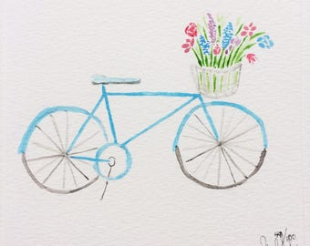 Watercolor Bike and Flowers Painting