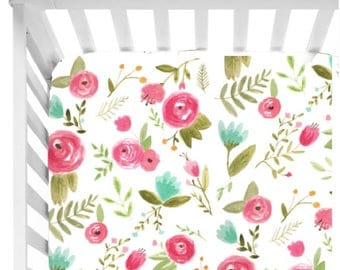 Floral Watercolor Fitted Crib Sheet// Floral nursery bedding// Baby Girl Bedding