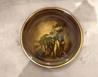 Antique Robert Burns themed Ridgway plate featuring Burns at the plough.  Late 1800s