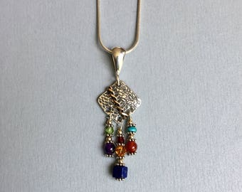 Multi color sterling silver necklace with goldfilled accent,
