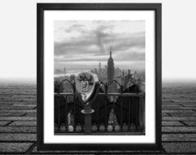 New York City, Top of the Rock,Rockefeller Center, framed black and white new york photos , Framed Photograph Wall Art