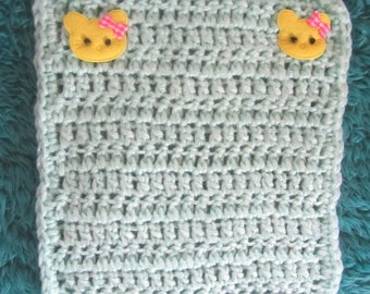 Crocheted Mint Green Pastel Blanket for your OOAK Baby/Doll