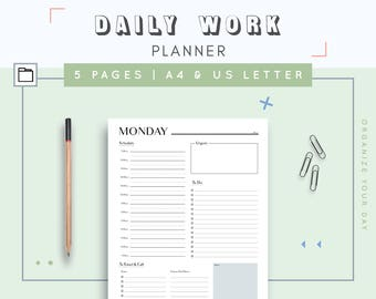 Hourly Day Planner | Daily Work Planner | Productivity Day Schedule | Day On One Page | Daily Agenda | Daily Organizer | US Letter, A4