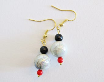 Earrings Bohemian geometric fancy red and black