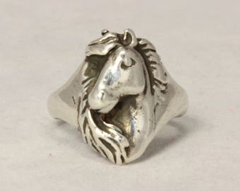 Vintage SOLID SILVER Equine RING Horse Head