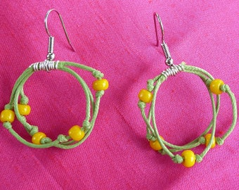 waxed cotton and yellow beads earrings