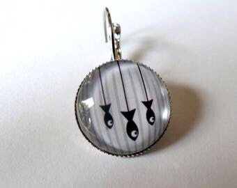 """SOLD to the PIECE, earring, glass cabochon, """"fish"""""""