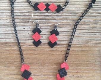 Set geometric leather coral