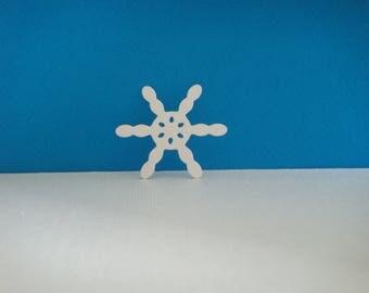 White snowflakes cut foam for creation for Christmas, diameter 4.5 cm
